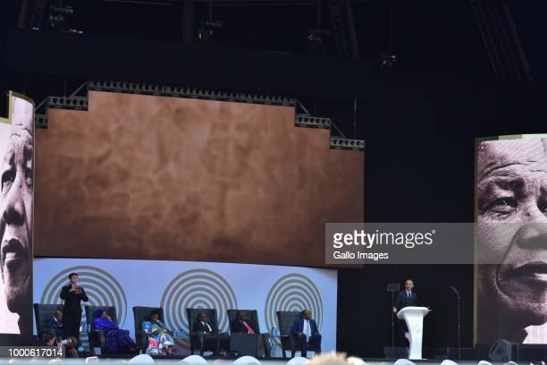 Former US president Barack Obama delivers the 16th annual Nelson Mandela lecture at Wanderers Stadium on July 17 2018 in Johannesburg South Africa...