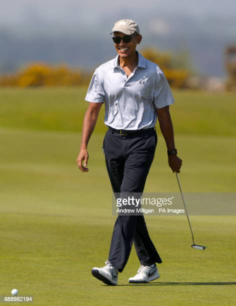 Former US President Barack Obama during a round of golf on the Old Course at St Andrews during a Visit to Scotland PRESS ASSOCIATION Photo Picture...