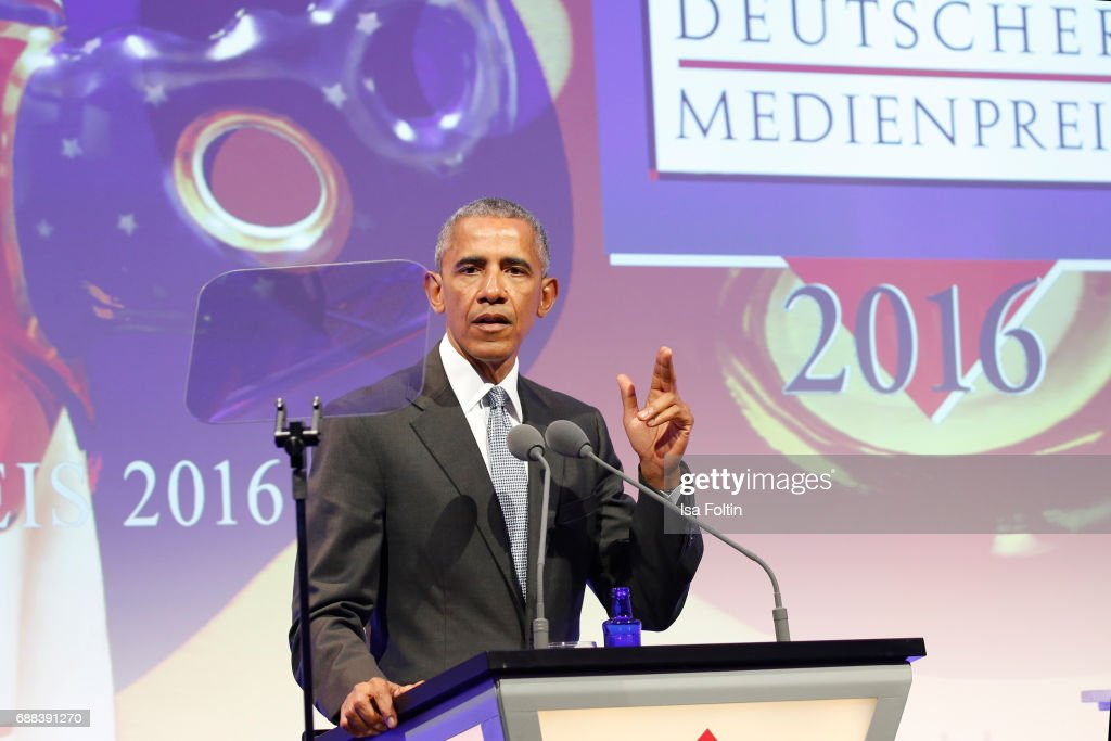 Former US president Barack Obama during the German Media Award 2016 at Kongresshaus on May 25, 2017 in Baden-Baden, Germany. The German Media Award (Deutscher Medienpreis) has been presented annually since 1992 to honor personalities from public life.