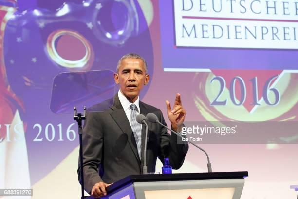 Former US president Barack Obama during the German Media Award 2016 at Kongresshaus on May 25, 2017 in Baden-Baden, Germany. The German Media Award...