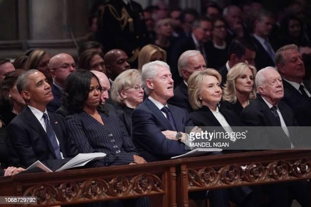 Former US President Barack Obama former US First Lady Michelle Obama former US President Bill Clinton former First Lady Hillary Clinton and former US...