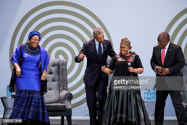 Former US President Barack Obama Graca Machel widow of former South African president and global icon Nelson Mandela and South African President...