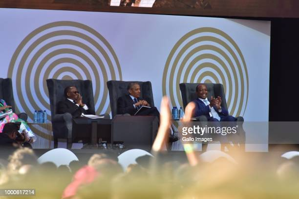 Former US president Barack Obama is flanked by Patrice Motsepe and Sello Hatang before delivering the 16th annual Nelson Mandela lecture at Wanderers...