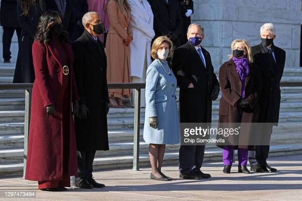 Former U.S. President Barack Obama, Michelle Obama, and former U.S. President George W. Bush and Laura Bush, and former U.S. President Bill Clinton...