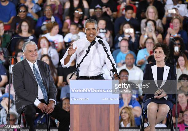 Former US President Barack Obama speaks as Clark County Commission Chairman and Democratic gubernatorial candidate Steve Sisolak and US Rep and US...