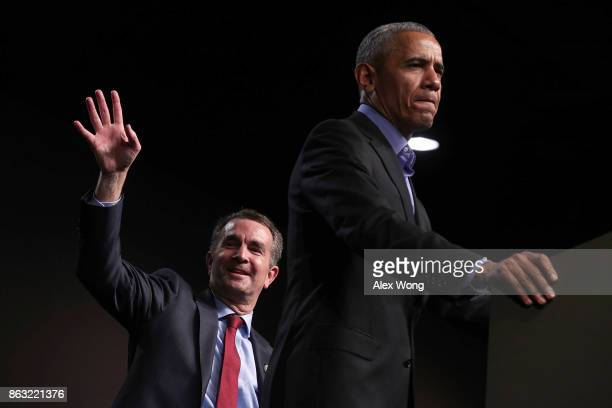 Former US President Barack Obama speaks as he campaigns for Democratic gubernatorial candidate and Virginia Lieutenant Governor Ralph Northam during...