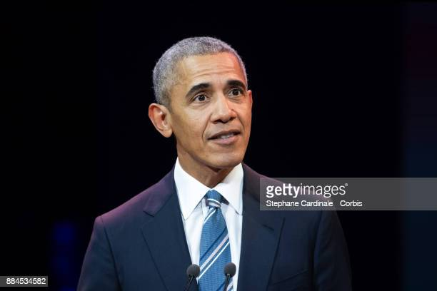 Former US president Barack Obama speaks at a conference during his first visit to France since he left the White House at Maison de la Radio on...