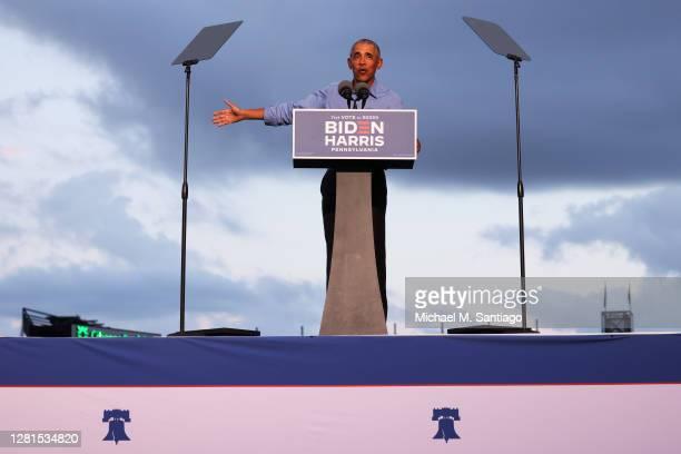 Former U.S. President Barack Obama speaks at a drive-in rally for Democratic presidential nominee Joe Biden on October 21, 2020 in Philadelphia,...