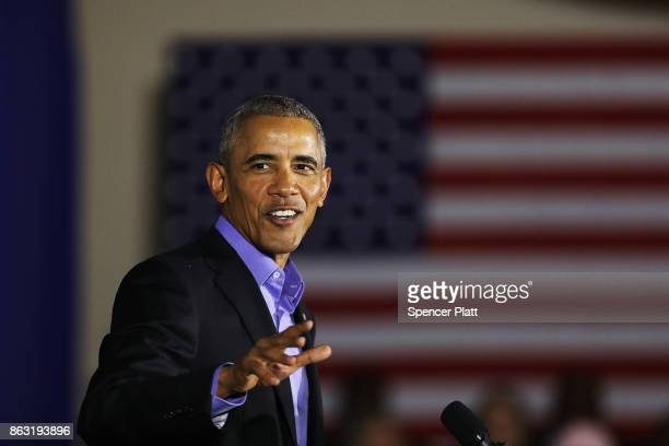 Former US President Barack Obama speaks at a rally in support of Democratic candidate Phil Murphy who is running against Republican Lt Gov Kim...