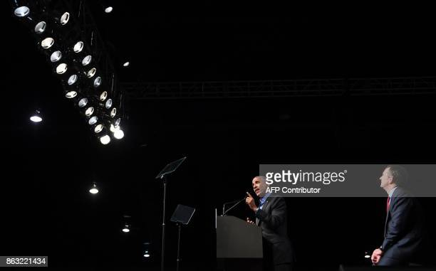 Former US President Barack Obama speaks during a campaign rally for Democratic Gubernatorial Candidate Ralph Northam in Richmond Virginia October 19...