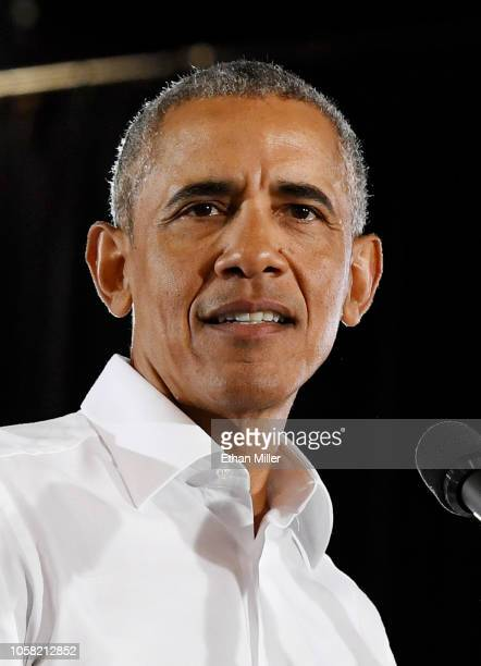 Former US President Barack Obama speaks during a getoutthevote rally at the Cox Pavilion as he campaigns for Nevada Democratic candidates on October...