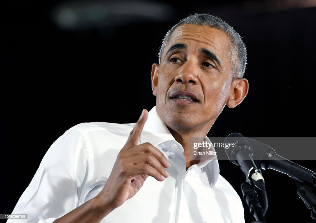 Former President Obama Speaks At Rally For Nevada Democrats In Las Vegas : News Photo