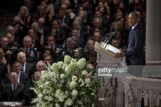 Former US President Barack Obama speaks during a memorial service for late Senator John McCain at Washington National Cathedral in Washington DC US...
