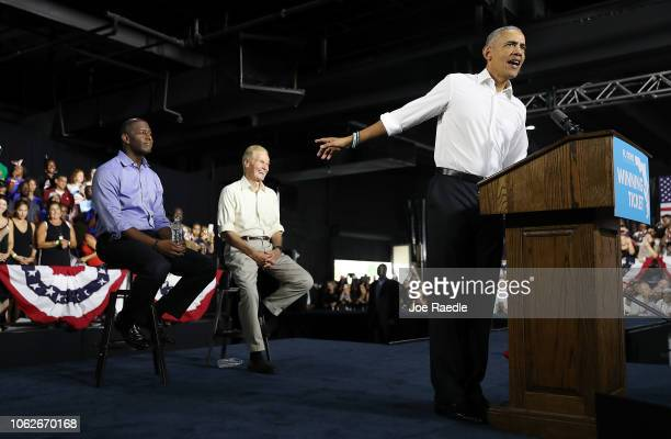 Former US President Barack Obama speaks during a rally to support Florida Democratic gubernatorial candidate Andrew Gillum and US Senator Bill Nelson...