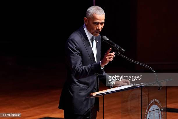 Former US President Barack Obama speaks during funeral services for late US Rep Elijah Cummings at the New Psalmist Baptist Church October 25 2019 in...