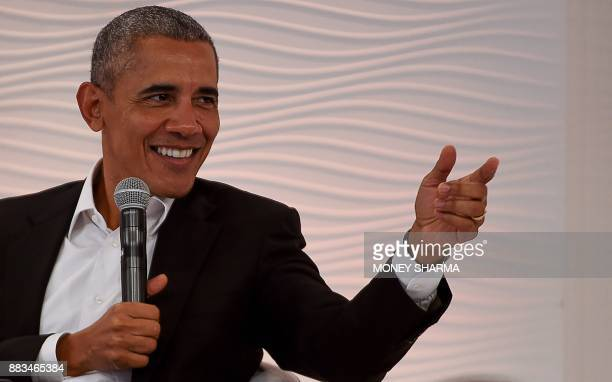 Former US president Barack Obama speaks during his address at the Hindustan Times Leadership Summit in the Indian capital New Delhi on December 1...