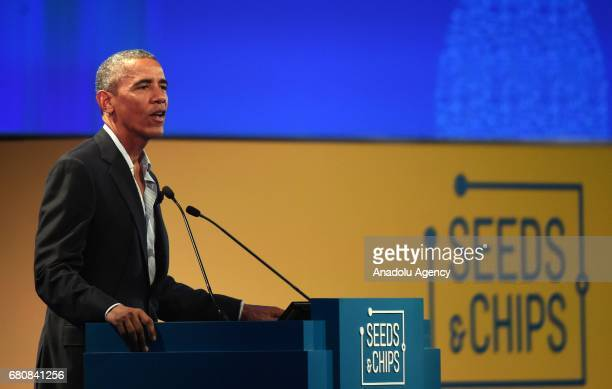 Former US President Barack Obama speaks during 'SeedsChips The Global Food Innovation Summit' forum in Milan Italy on May 9 2017