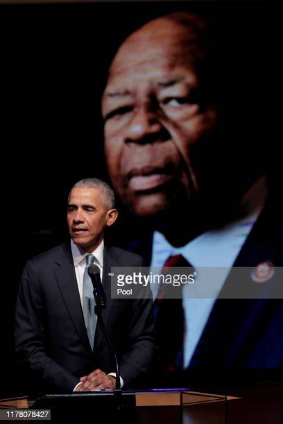 Former US President Barack Obama speaks during the funeral services for late US Representative Elijah Cummings at the New Psalmist Baptist Church...