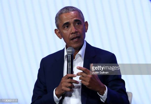 Former US President Barack Obama speaks during the MBK Rising My Brother's Keeper Alliance Summit on February 19 2019 in Oakland California MBK...