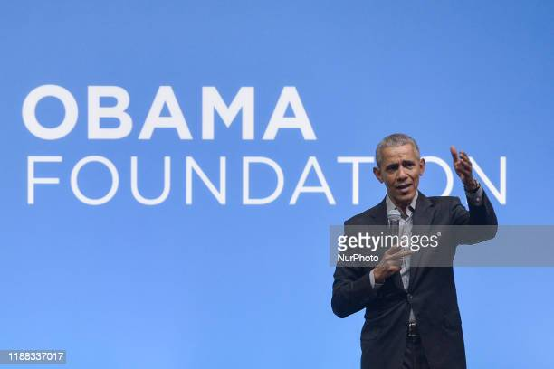 Former US President Barack Obama speaks on the stage as he attends an Obama Foundation event in Kuala Lumpur Malaysia 13 December 2019 Obama and his...