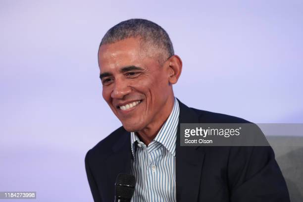 Former US President Barack Obama speaks to guests at the Obama Foundation Summit on the campus of the Illinois Institute of Technology on October 29...