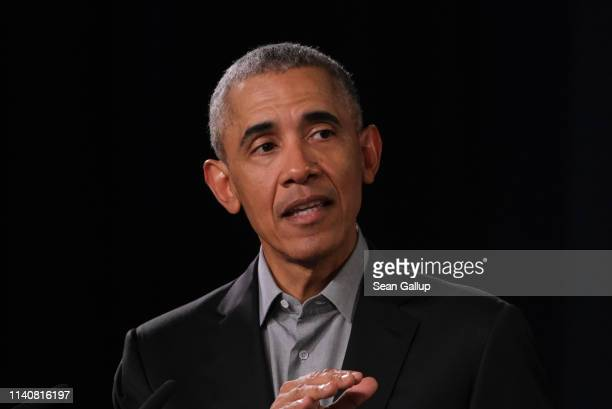 Former US President Barack Obama speaks to young leaders from across Europe in a Town Hallstyled session on April 06 2019 in Berlin Germany Obama...