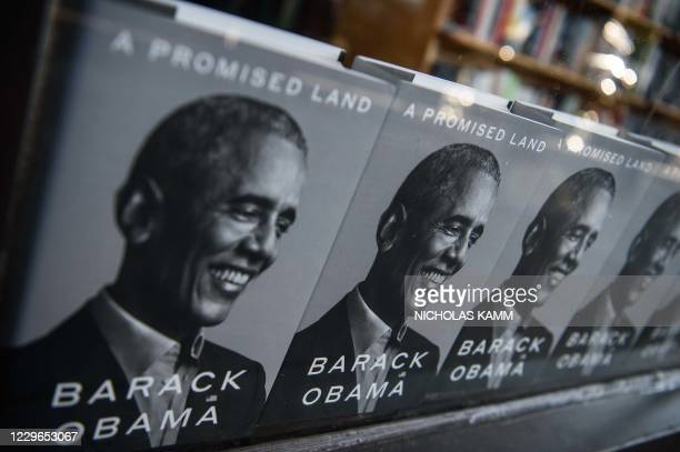 """Former US President Barack Obama's new book """"A Promised Land"""" is seen in a bookstore in Washington, DC, on November 17, 2020. - Former US president..."""