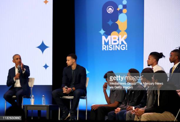 Former US President Barrack Obama and Golden State Warriors star Stephen Curry answer a question during the fifth anniversary of My Brother'u2019s...
