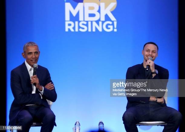 Former US President Barrack Obama and Golden State Warriors star Stephen Curry speak during the fifth anniversary of My Brother'u2019s Keeper...