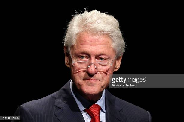 Former US President Bill Clinton addresses the 20th International AIDS Conference at The Melbourne Convention and Exhibition Centre on July 23 2014...