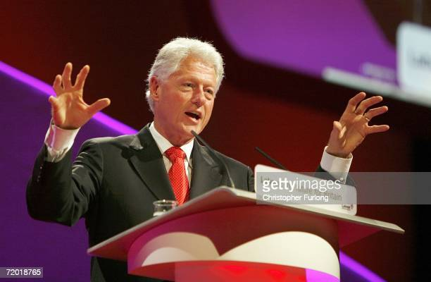 Former US President Bill Clinton addresses the labour party conference on it's fouth day at the GMEX centre on September 27 2006 in Manchester...