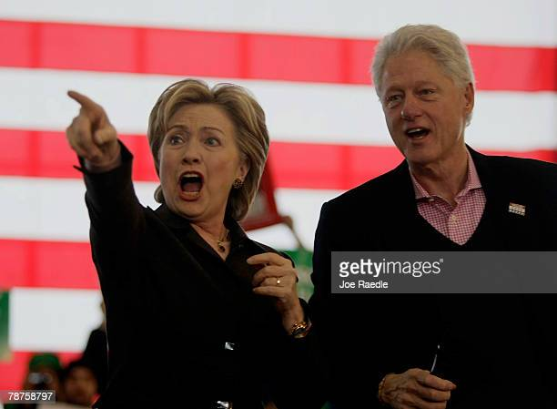Former US President Bill Clinton and his wife Democratic presidential candidate Sen Hillary Clinton during a campaign stop at Aeroservices Inc...