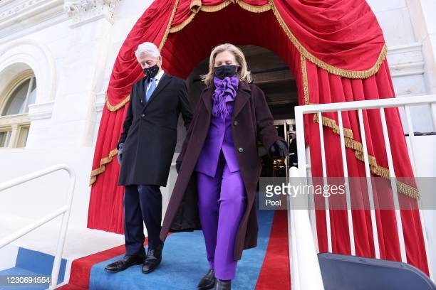 Former U.S. President Bill Clinton and his wife Hillary Clinton arrive for the inauguration of President-elect Joe Biden on the West Front of the...