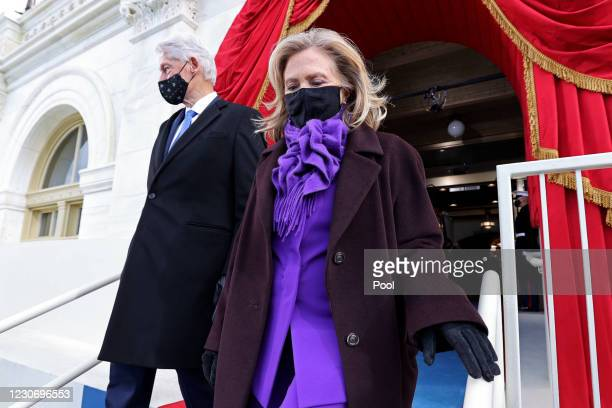 Former U.S. President Bill Clinton and his wife Hillary Clinton arrive for the inauguration of U.S. President-elect Joe Biden on the West Front of...