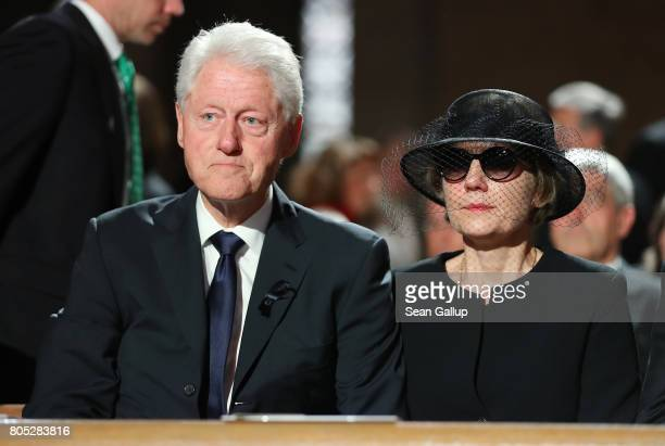 Former US President Bill Clinton and Maike KohlRichter the widow of Helmut Kohl attend a requiem for Kohl at the Speyer cathedral on July 1 2017 in...