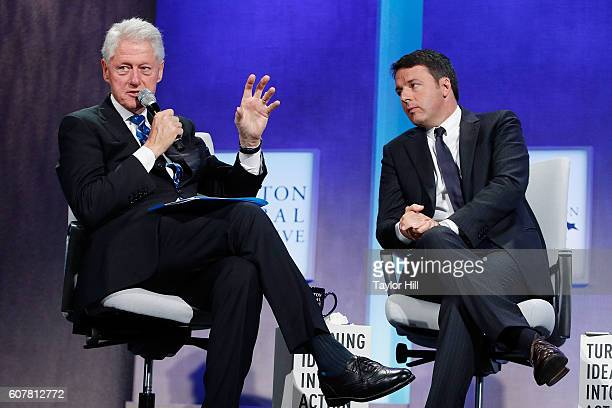 Former US President Bill Clinton and Prime Minister of Italy Matteo Renzi speak during the 2016 Clinton Global Initiative Annual Meeting at Sheraton...