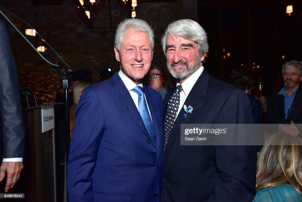 Former U.S. President Bill Clinton and Sam Waterston attend the Oceana New York Gala at Blue Hill at Stone Barns on September 13, 2017 in Tarrytown, New York.