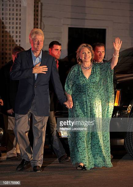 Former US President Bill Clinton and Secretary of State Hillary Clinton attend daughter Chelsea Clinton and her fiance Marc Mezvinsky's prewedding...