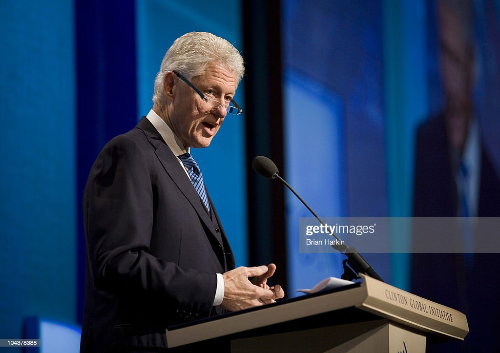 Former U.S. President Bill Clinton announce the start of the final day of the annual Clinton Global Initiative (CGI) meetings September 23, 2010 in New York City. The sixth annual meeting of the CGI gathers prominent individuals in politics, business, science, academics, religion and entertainment to discuss global issues such as climate change and the reconstruction of Haiti. The event, founded by Clinton after he left office, is held the same week as the General Assembly at the United Nations, when most world leaders are in New York City.