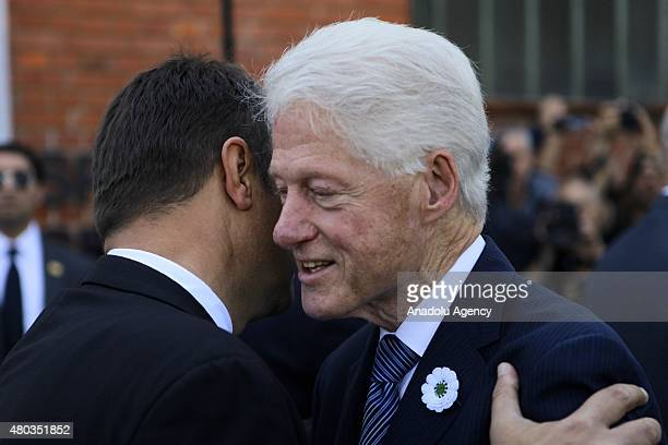 Former US President Bill Clinton arrives at Potocari Memorial Center to attend the commemoration of 20th anniversary of Srebrenica genocide on July...