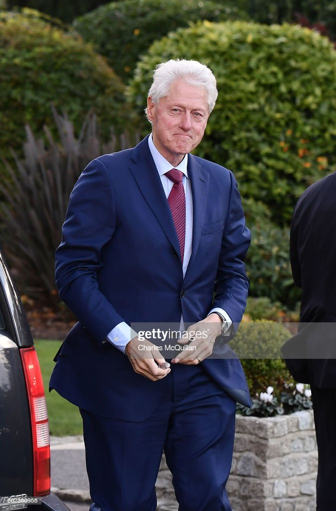Former US President Bill Clinton arrives at the Culloden Hotel for a private meeting with Northern Ireland political leaders on October 17, 2017 in Belfast, Northern Ireland. President Clinton, who was instrumental in the Good Friday agreement between Northern Ireland's political parties has flown into the province at a crucial stage of talks to restore the power sharing executive to government. Northern Ireland has been without a government since the late Martin McGuinness, Northern Ireland's then deputy First Minister resigned his position.