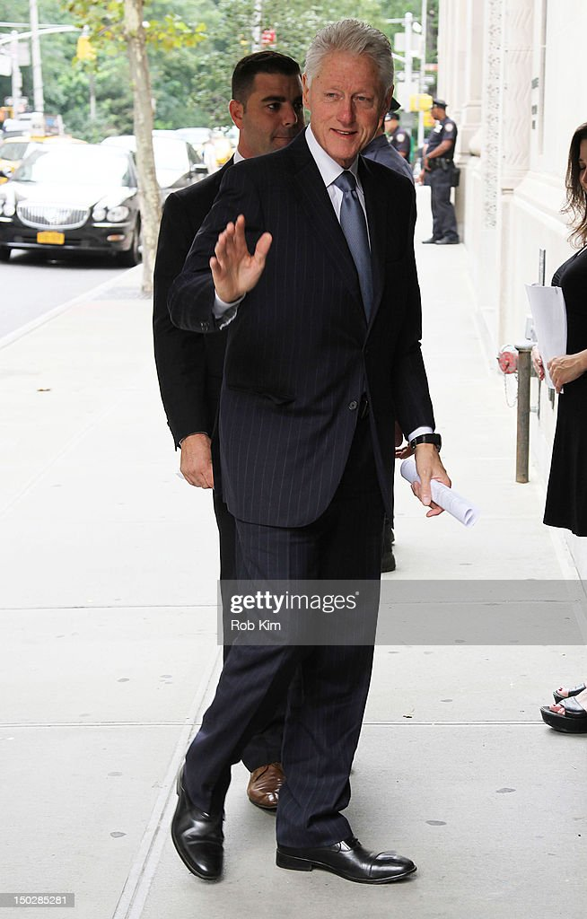 Former U.S. President Bill Clinton attends the funeral service for Marvin Hamlisch at Temple Emanu-El on August 14, 2012 in New York City. Hamlisch died in Los Angeles on August 6, 2012 at age 68. In his long and distinguished career, the music man had received a Pulitzer Prize as well as the Oscar, Tony, Emmy and GRAMMY.