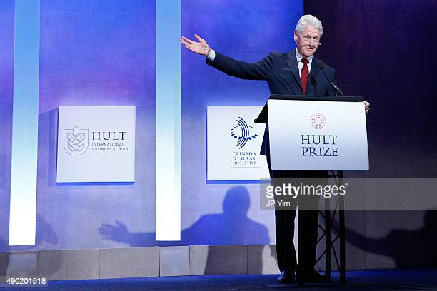 Former US President Bill Clinton attends the Hult Prize Award dinner during the first day of the 2015 Clinton Global Initiative's Annual Meeting at...