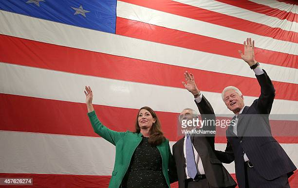Former US President Bill Clinton campaigns for US Senate Democratic candidate and Kentucky Secretary of State Alison Lundergan Grimes with Kentucky...