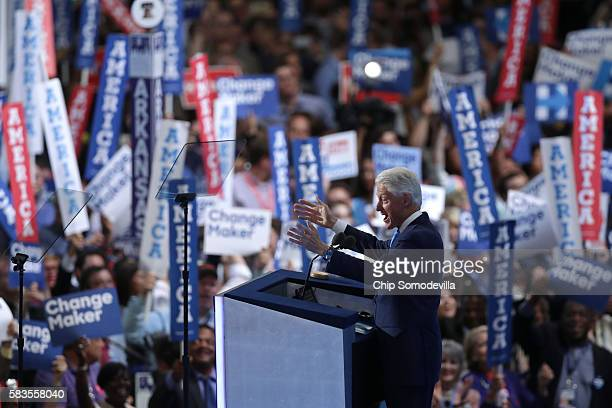 Former US President Bill Clinton delivers remarks on the second day of the Democratic National Convention at the Wells Fargo Center, July 26, 2016 in...