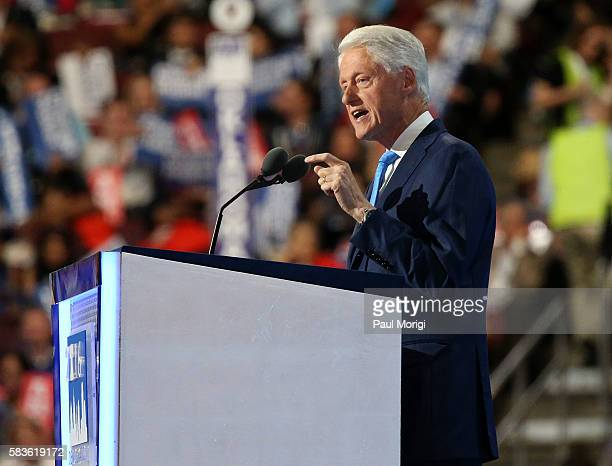 Former U.S. President Bill Clinton delivers remarks on the second day of the 2016 Democratic National Convention at Wells Fargo Center on July 26,...