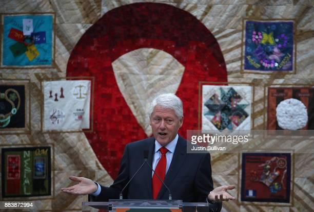 Former US president Bill Clinton delivers the keynote address during the World AIDS Day commemoration event at the National AIDS Memorial Grove on...