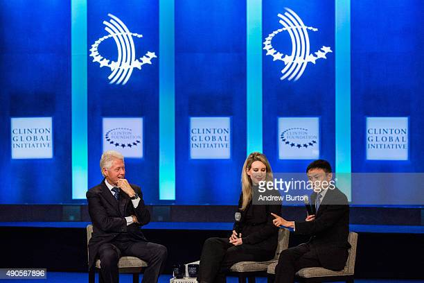 Former US President Bill Clinton Elizabeth Holmes founder and CEO of Theranos and Jack Ma executive chairman of Alibaba Group speak at the Clinton...