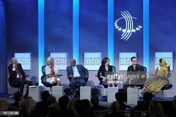 Former US President Bill Clinton from left Christine Lagarde managing director of International Monetary Fund Mo Ibrahim founder of Celtel...