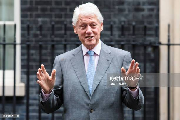 Former US President Bill Clinton leaves Number 10 Downing Street on October 19 2017 in London England Mr Clinton met with British Prime Minister...
